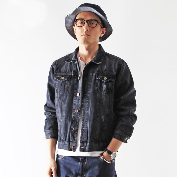 เสื้อแจ็คเก็ตยีนส์ ผู้ชายแฟชั่นเกาหลีแขนยาวเอวตรงทรงหลวมเทรนด์ใหม่ ฟรีไซส์ สียีนส์ดำ - พร้อมส่งTJ7734M ราคา1190บาท