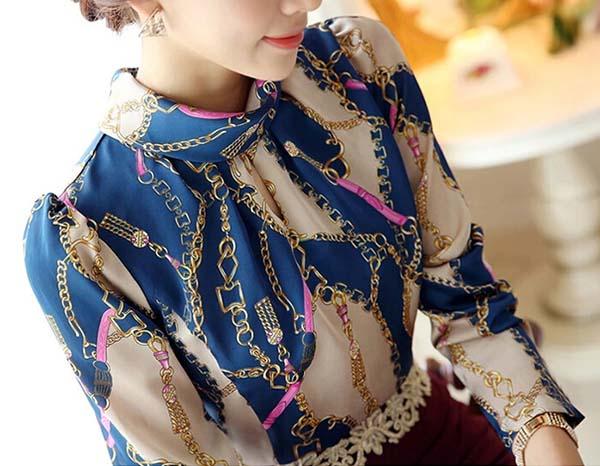 เสื้อเชิ้ตผู้หญิง คอตั้งแขนยาวผ้าชีฟองลายกราฟิกแฟชั่นเกาหลีทำงานใหม่ นำเข้า ไซส์M - พร้อมส่งTJ7743 ราคา1100บาท