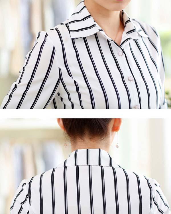 เสื้อเชิ้ตผู้หญิง แขนยาวผ้าชีฟองลายทางแฟชั่นเกาหลีทำงานใหม่ นำเข้า ไซส์XL สีดำขาว - พร้อมส่งTJ7745 ราคา1100บาท