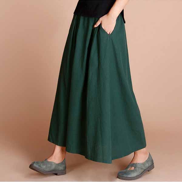 กระโปรงยาว แฟชั่นเกาหลีผ้าคอตตอนลินินแนววินเทจเอวยืดมีกระเป๋า นำเข้า สีเขียว - พร้อมส่งTJ7749 ราคา1150บาท
