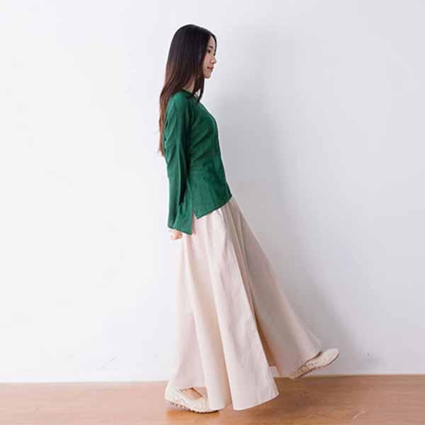 กระโปรงยาว แฟชั่นเกาหลีผ้าคอตตอนลินินแนววินเทจเอวยืดมีกระเป๋า นำเข้า สีครีม - พร้อมส่งTJ7749 ราคา1150บาท
