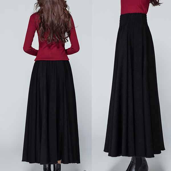 กระโปรงยาว แฟชั่นเกาหลีผ้าคอตตอนลินินแนววินเทจเอวยืดมีกระเป๋า นำเข้า สีดำ - พร้อมส่งTJ7749 ราคา1150บาท