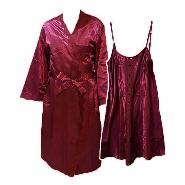 ชุดนอน2ชิ้น ผ้าซาตินหนานุ่มแฟชั่นแต่งลูกไม้จากเอาท์เล็ทมีตำหนิเล็กน้อย นำเข้า สีแดงเข้ม - พร้อมส่งTJ7762 ลดราคา149บาท