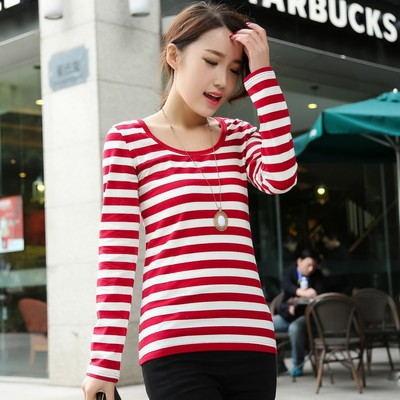 เสื้อยืดแขนยาวลายขวาง แฟชั่นเกาหลีผู้หญิงน่ารัก นำเข้า สีขาวแดง - พร้อมส่งTJ7793 ราคา250บาท