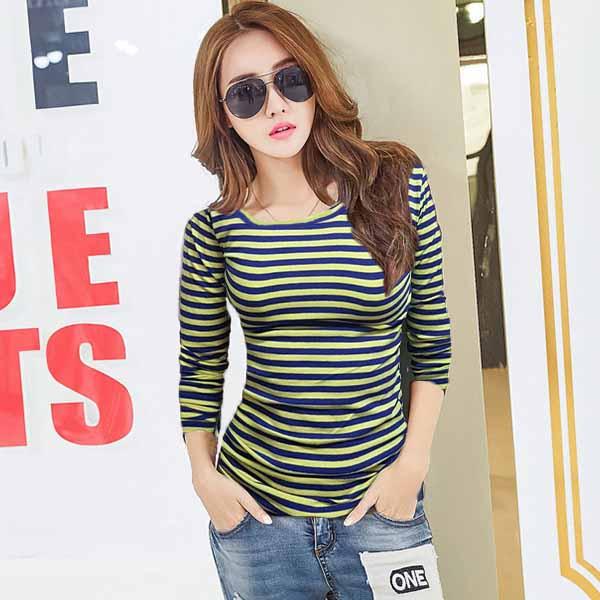 เสื้อยืดแขนยาวลายทาง แฟชั่นเกาหลีผู้หญิงน่ารัก นำเข้า สีเหลืองน้ำเงิน - TJ7804