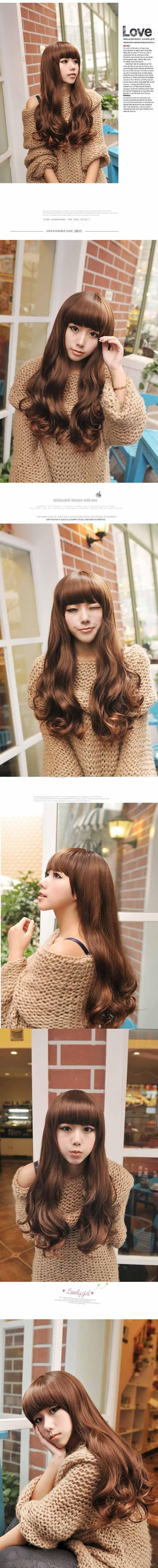 วิกผมยาว แบบสาวเกาหลีหน้าม้าปลายดัดลอนใหญ่สวย นำเข้า สีน้ำตาลอ่อน - พร้อมส่งW008 ราคา670บาท