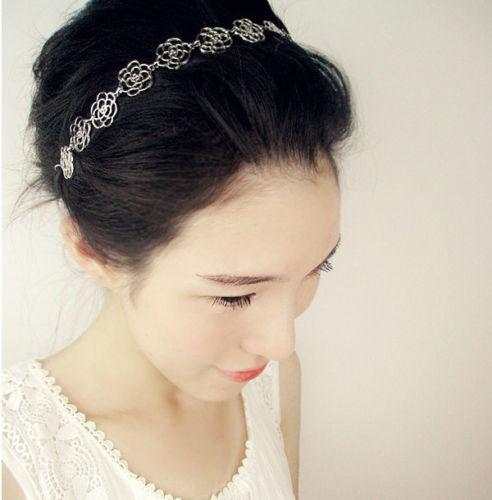 ที่คาดผมเกาหลี แฟชั่นลายดอกไม้สีทองสำหรับงานแต่งงานสวย นำเข้า สีบรอนซ์ - พร้อมส่งW017 ราคา 180 บาท