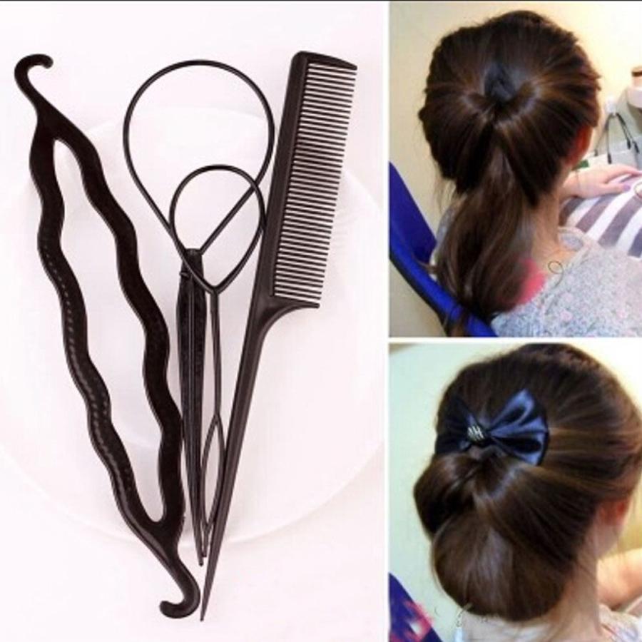 เซ็ทที่ทำผม4ชิ้น สำหรับทำผมหางม้าผมมวยพร้อมหวีให้มีทรงผมเก๋แฟชั่นสวยสไตล์สาวเกาหลี Fashion 4 Piece Magic Hair Clip Twist Styling Accessory Womens Maker Tool Braiding Roller Tool Hair Accessories