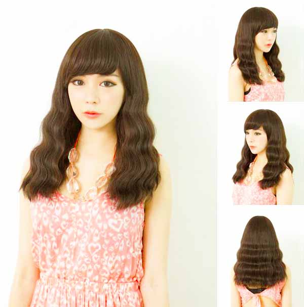 วิกผมยาว แบบสาวเกาหลีหน้าม้าดัดลอนเล็กผมเยอะนุ่มพิเศษ นำเข้า สีน้ำตาลอ่อน - พร้อมส่งW163 ราคา670บาท