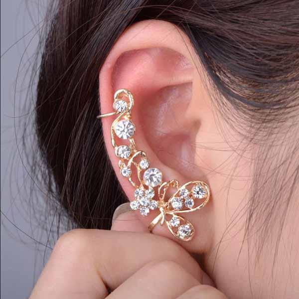 ต่างหูคลิป แฟชั่นเกาหลีรูปผีเสื้อคริสตัลหนีบใบหูสวย Crystal Clip Ear Cuff Stud Earring นำเข้า - พร้อมส่งW193 ราคา300บาท