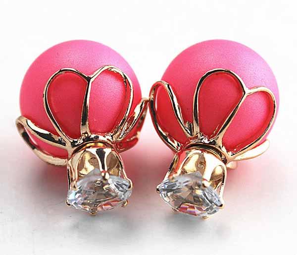 ต่างหูคริสตัล ใหม่แฟชั่นเกาหลีมุกใส่2ด้านสวยหรูหรา Celebrity Earrings นำเข้า สีชมพู - พร้อมส่งW202 ราคา300บาท