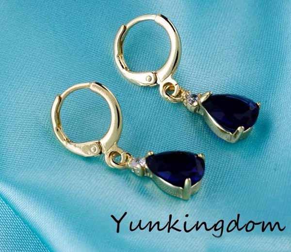 ต่างหูคริสตัล แฟชั่นเกาหลีทรงหยดน้ำทอง18Kสไตล์อัญมณี Gems Earrings นำเข้า สีน้ำเงิน - พร้อมส่งW206 ราคา450บาท