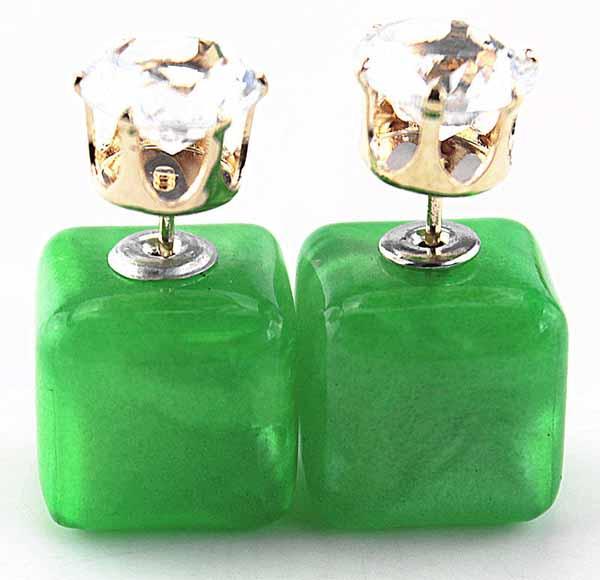 ต่างหูคริสตัล ใหม่แฟชั่นเกาหลีทรงกล่องใส่ได้2ด้านสวยCelebrity Pearl Earrings นำเข้า สีเขียว - พร้อมส่งW214 ราคา300บาท