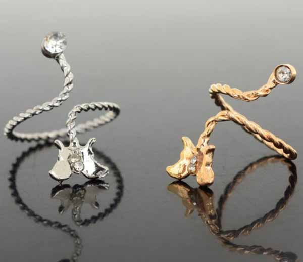 แหวนคริสตัล รูปผีเสื้อแฟชั่นเกาหลีปลายเปิดสวมนิ้วอินเทรนด์ Open Joint Ring  นำเข้า สีทอง - พร้อมส่งW240 ราคา150บาท