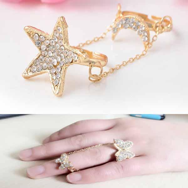 แหวนแฟชั่น ประดับคริสตัลแหวนคู่เชื่อมโซ่ปรับขนาดได้ Double Knuckle Ring นำเข้า สีทอง - พร้อมส่งW255 ราคา300บาท