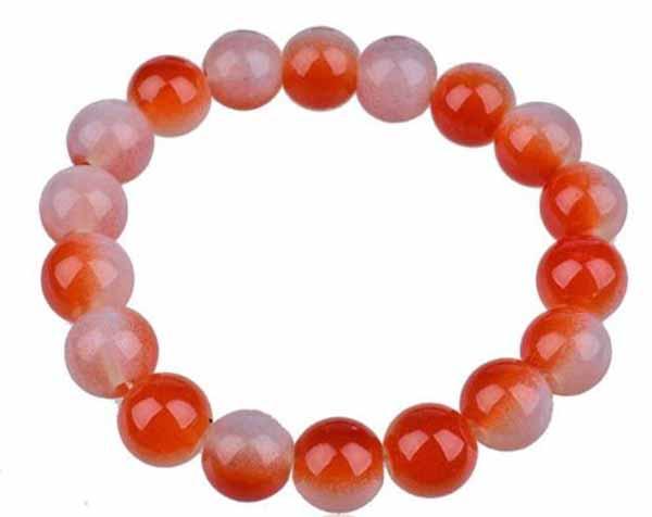 กำไลหินนำโชคสีขาวส้ม เสริมพลังด้านหน้าที่การงานความร่ำรวยและความอุดมสมบูรณ์ นำเข้า - พร้อมส่งW257 ราคา300บาท