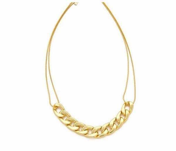 สร้อยคอแฟชั่น ดีไซน์เกลียวสายโซ่สวยหรู นำเข้า สีทอง Charms Celeb Necklace - พร้อมส่งW274 ราคา250บาท