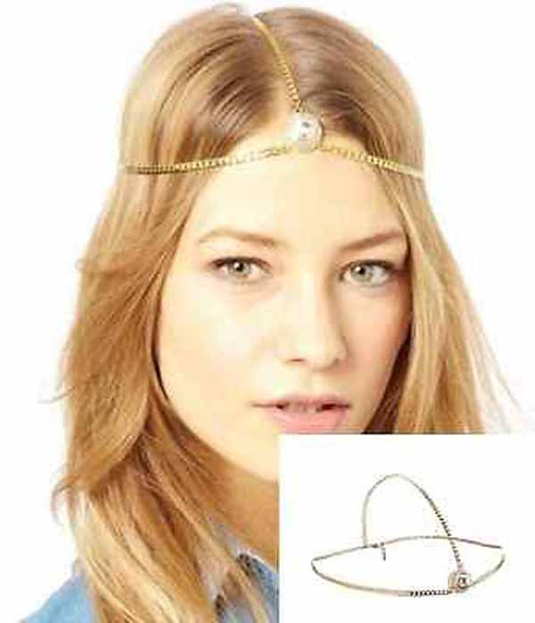 ที่คาดผมเกาหลี แฟชั่นสายโซ่คาดศีรษะแต่งคริสตัลหรูมาก Head Chain Headband นำเข้า สีทอง - พร้อมส่งW282 ราคา180บาท