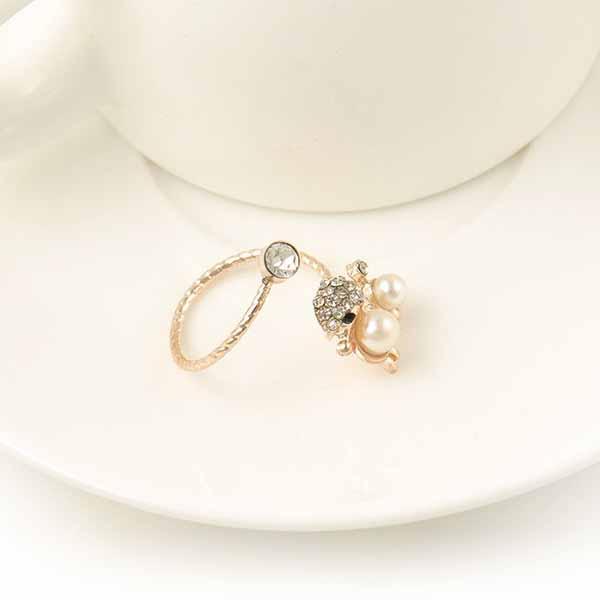 แหวนมุกคริสตัล รูปน้องหมาพุดเดิ้ลแฟชั่นเกาหลีปลายเปิดสวมนิ้วอินเทรนด์ Open Ring  นำเข้า - พร้อมส่งW288 ราคา250บาท