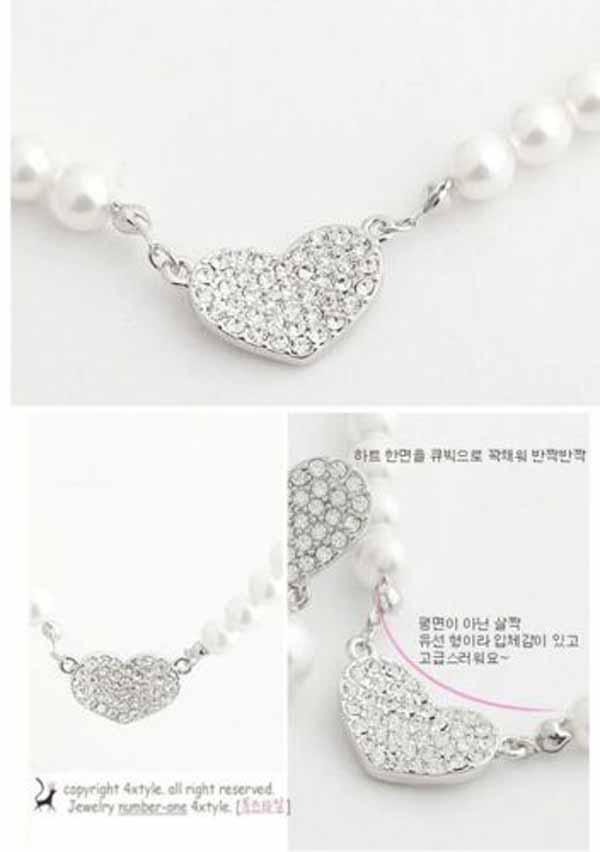 สร้อยคอมุกแฟชั่น ประดับมุกสีขาวสวยหรูคู่จี้คริสตัลรูปหัวใจ นำเข้า Pearl Heart Necklace - พร้อมส่งW299 ราคา280บาท