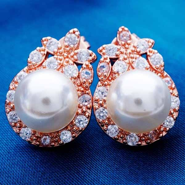 ต่างหูมุก แฟชั่นเกาหลีประดับเพชรสวิสสไตล์อัญมณี CZ Rose Gold Pearl Earrings นำเข้า สีขาว - พร้อมส่งW334 ราคา450บาท