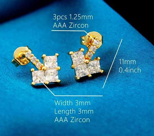 ต่างหูเพชร แฟชั่นเกาหลีประดับเพชรสวิสรูปหัวใจ CZ Rose Gold Earrings นำเข้า สีขาว - พร้อมส่งW358 ราคา450บาท