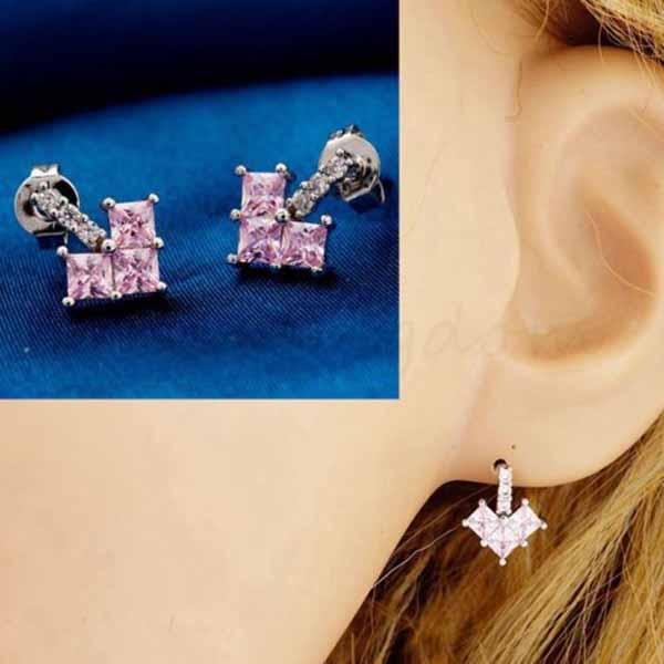 ต่างหูเพชร แฟชั่นเกาหลีทองคำขาวรูปหัวใจ CZ White Gold Earrings นำเข้า สีชมพู - พร้อมส่งW358 ราคา450บาท