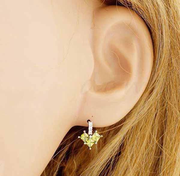 ต่างหูเพชร แฟชั่นเกาหลีประดับเพชรสวิสรูปหัวใจ CZ Rose Gold Earrings นำเข้า สีเขียว - พร้อมส่งW358 ราคา450บาท