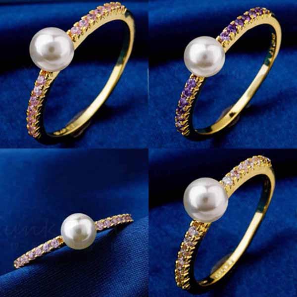 แหวนมุกทองคำ แฟชั่นเกาหลีประดับเพชรคริสตัลสวยหรู 18K Gold CZ Rings นำเข้า ไซส์7 - พร้อมส่งW360 ราคา550บาท