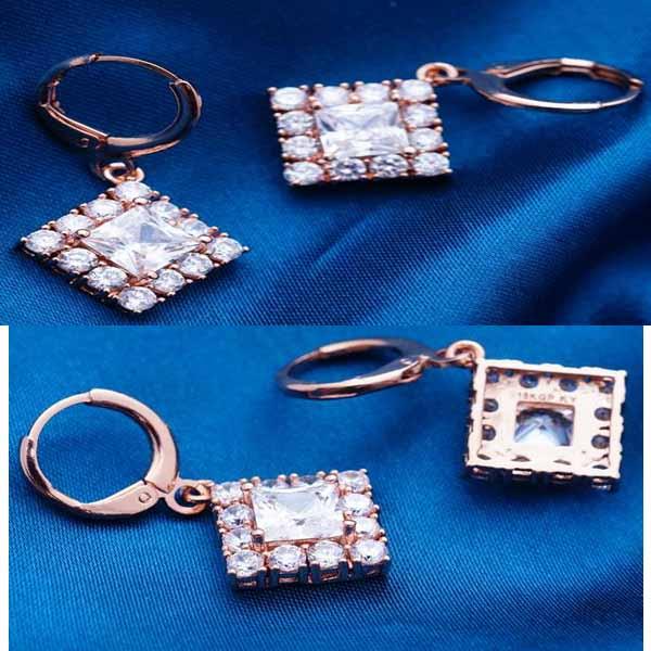 ต่างหูเพชร แฟชั่นเกาหลีแบบห่วงประดับคริสตัลรูปสี่เหลี่ยม CZ Gold Earrings นำเข้า สีขาว - พร้อมส่งW365 ราคา450บาท