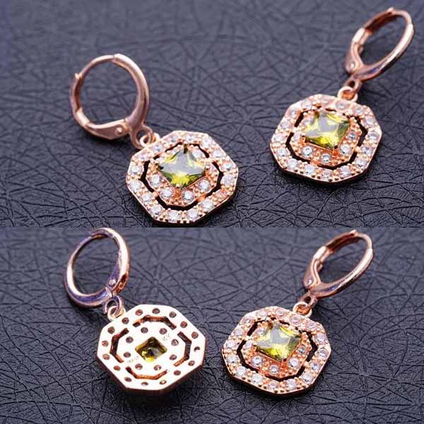 ต่างหูเพชร แฟชั่นเกาหลีแบบห่วงประดับคริสตัลรูป8เหลี่ยม CZ Gold Earrings นำเข้า สีเขียว - พร้อมส่งW368 ราคา450บาท