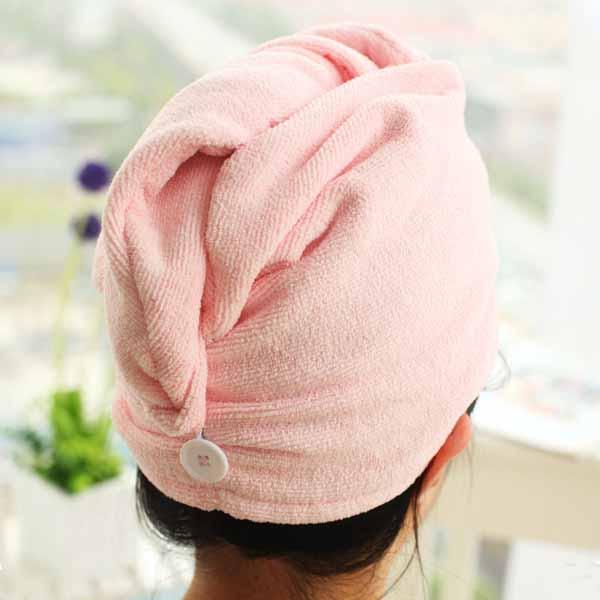 หมวกคลุมผม แฟชั่นผมแห้งเร็วใช้ขณะแต่งหน้า Microfibre Bath Hair Towel นำเข้า สีชมพู - พร้อมส่งW390 ราคา190บาท