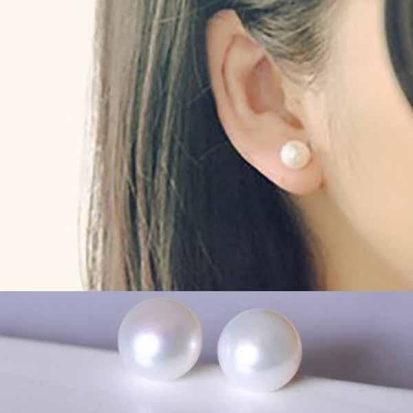 ต่างหูมุกน้ำจืดแท้ ขนาด5mm สวยหรูหราก้านเงินแท้925 Genuine Pearl Earrings นำเข้า สีขาว - พร้อมส่งW401 ราคา550บาท