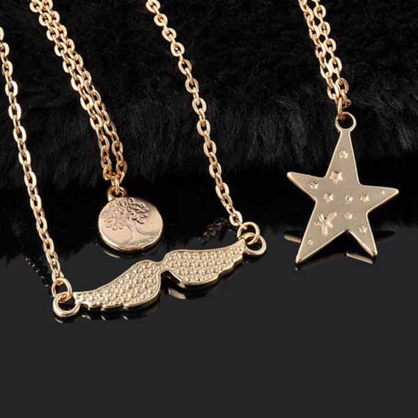 สร้อยคอแฟชั่น เส้นเล็กปีกนางฟ้าและดวงดาว3ชั้นสวยหรู 3 Chain Necklace นำเข้า สีทอง - พร้อมส่งW419 ราคา250บาท