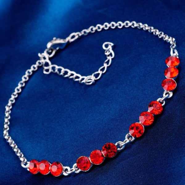 กำไลข้อมือ แฟชั่นเกาหลีสร้อยคริสตัลทองคำขาวสวยน่ารักใหม่ 18K Gold Bracelet นำเข้า สีแดง - พร้อมส่งW424 ราคา550บาท