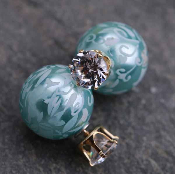 ต่างหูคริสตัล ใหม่แฟชั่นเกาหลีมุก2ด้านสวยCelebrity Pearl Earrings นำเข้า สีฟ้า - พร้อมส่งW430 ราคา300บาท