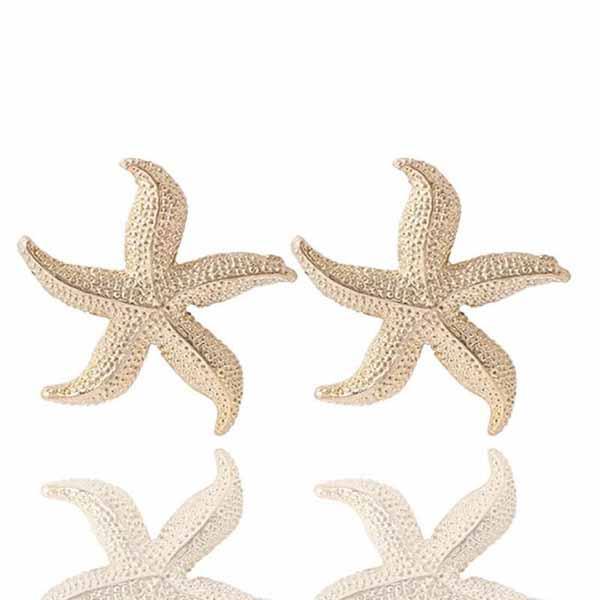ต่างหูรูปปลาดาว ห้าแฉกหรูหราใหม่แฟชั่นสวย Elegant Golden Star Earrings นำเข้า สีทอง - พร้อมส่งW451 ราคา300บาท