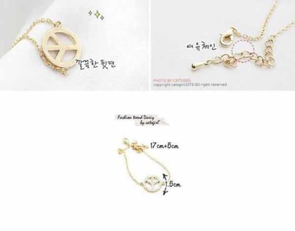 กำไลข้อมือ แฟชั่นเกาหลีสร้อยคริสตัลแทนความรักน่ารักสวยแบบใหม่ นำเข้า สีทอง - พร้อมส่งW466 ราคา200บาท