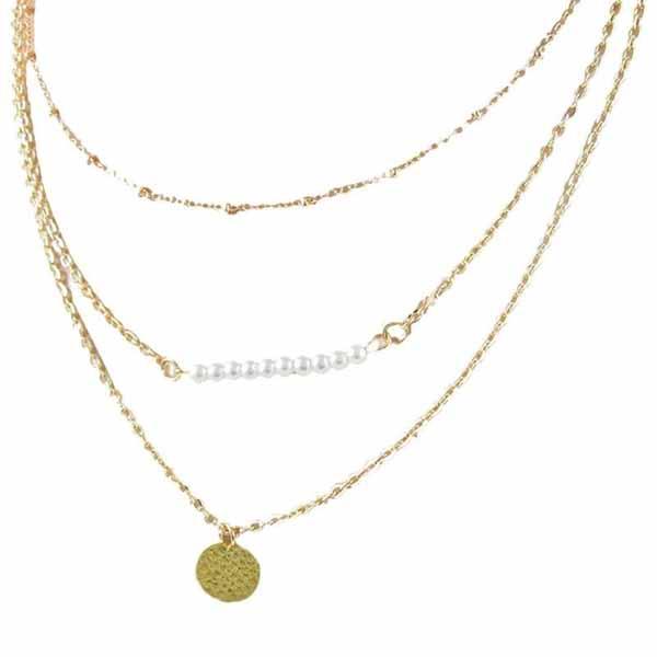 สร้อยคอแฟชั่น เส้นเล็กคริสตัลและเหรียญทอง3ชั้นสวยหรู 3 Chain Necklace นำเข้า สีทอง - พร้อมส่งW473 ราคา250บาท