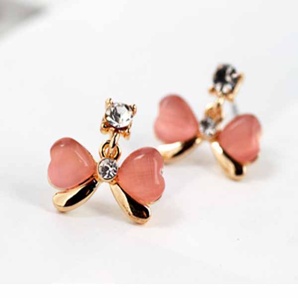 ต่างหูคริสตัล แฟชั่นเกาหลีดีไซน์โบว์ตุ้งติ้งสวย Crystal Bow Earrings นำเข้า สีชมพู - พร้อมส่งW485 ราคา250บาท