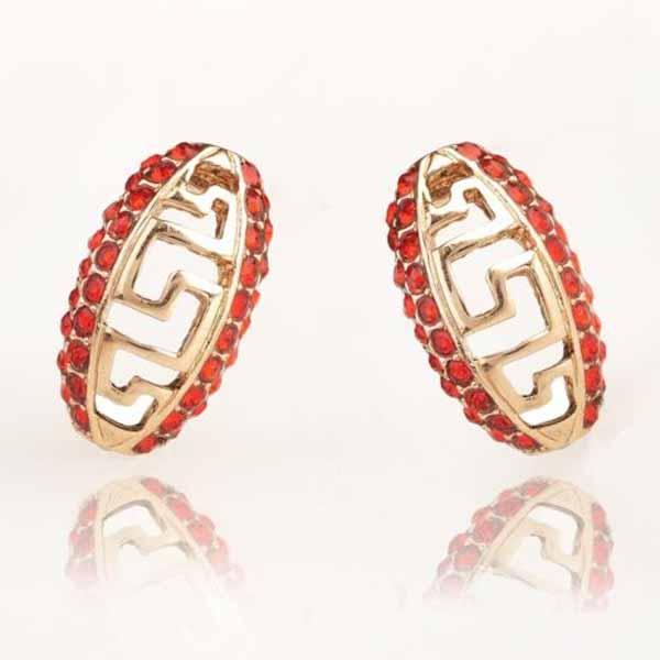 ต่างหูคริสตัล สีแดงระยับรุ่นใหม่แฟชั่นเกาหลีสวย Crystal Chinese Earrings นำเข้า สีทอง - พร้อมส่งW487 ราคา300บาท