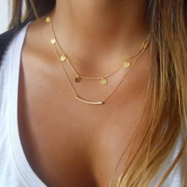 สร้อยคอแฟชั่น เส้นเล็กยาวระย้า2ชั้นจี้รูปทรงโค้งแต่งเหรียญ 2 Chain Necklace นำเข้า สีทอง - พร้อมส่งW491 ราคา250บาท