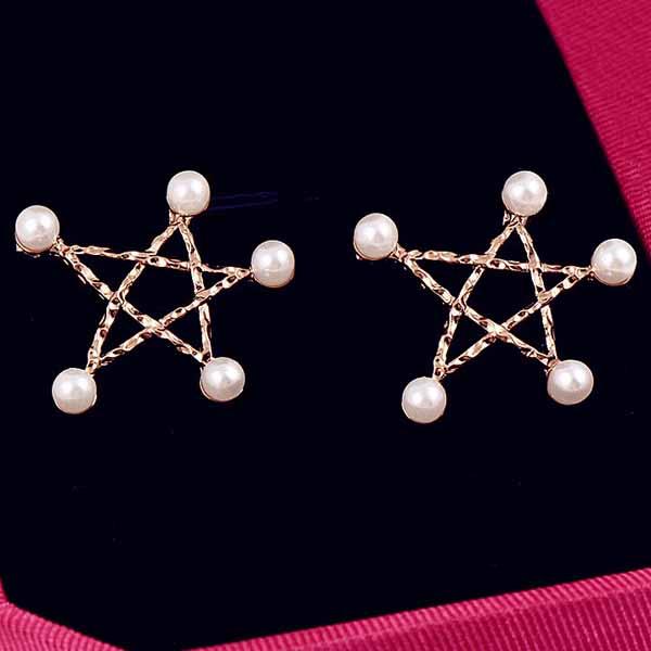 ต่างหูมุก ดวงดาวหรูหราใหม่แฟชั่นเกาหลีสวยน่ารัก Pearl Star Earrings นำเข้า สีทอง - พร้อมส่งW503 ราคา200บาท