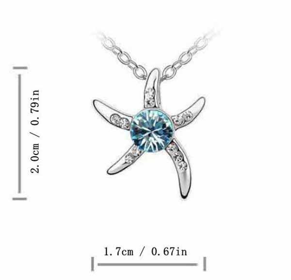 สร้อยคอคริสตัล แฟชั่นรูปดาวสวยหรูสวมนำโชค Crystal Star Necklace นำเข้า สีฟ้า - พร้อมส่งW510 ราคา370บาท