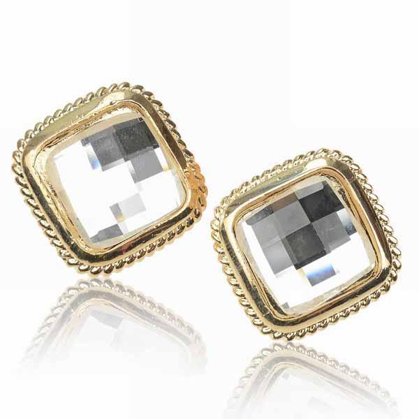 ต่างหูคริสตัล แฟชั่นเกาหลีดีไซน์สีเหลี่ยมใส่สวยหรูมาก Square Earring นำเข้า สีทอง - พร้อมส่งW539 ราคา300บาท