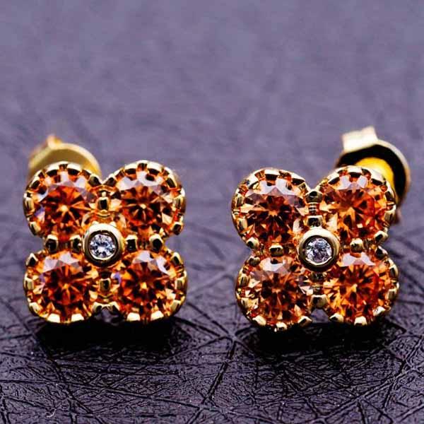 ต่างหูเพชร แฟชั่นเกาหลีประดับคริสตัลรูปดอกไม้ทอง18K CZ Gold Earrings นำเข้า สีแชมเปญ - พร้อมส่งW541 ราคา450บาท