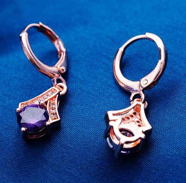 ต่างหูเพชร แฟชั่นเกาหลีแบบห่วงทองคำคริสตัลรูปหยดน้ำ CZ Gold Earrings นำเข้า สีม่วง - พร้อมส่งW558 ราคา450บาท