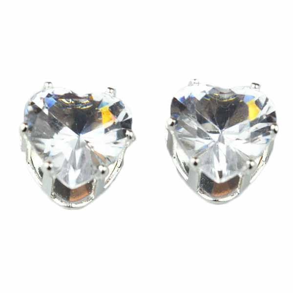 ต่างหูคริสตัล แฟชั่นเกาหลีรูปหัวใจ Silver Heart Crystal Earring นำเข้า สีขาว - พร้อมส่งW567 ราคา120บาท