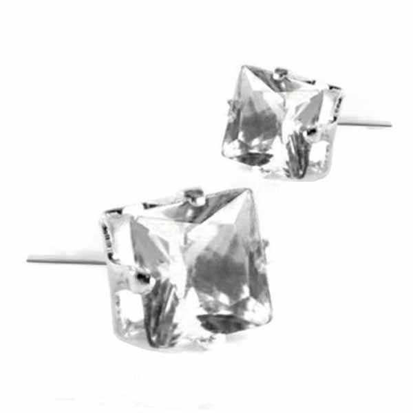ต่างหูคริสตัล แฟชั่นเกาหลีรูปสี่เหลี่ยม Silver Square Crystal Earring นำเข้า สีขาว - พร้อมส่งW570 ราคา120บาท