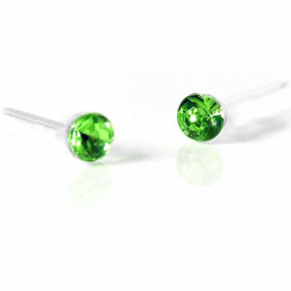 ต่างหูคริสตัล แฟชั่นเกาหลีรูปทรงกลมเป็นของขวัญ Silver Crystal Earring นำเข้า สีเขียว - พร้อมส่งW572 ราคา120บาท